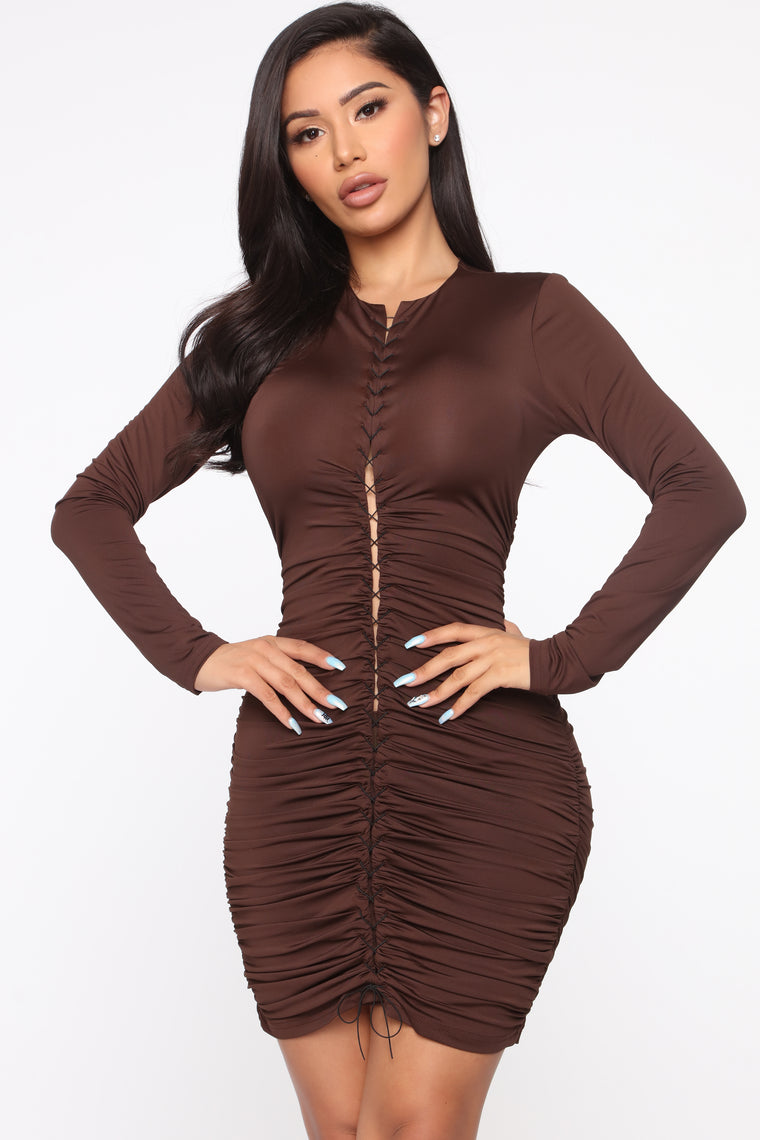 Bring The Party Lace Up Mini Dress - Brown