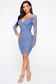 Escaping Love Ruched Mini Dress - Denim Blue