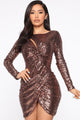 Knot Looking Anywhere Else Sequin Mini Dress - Bronze