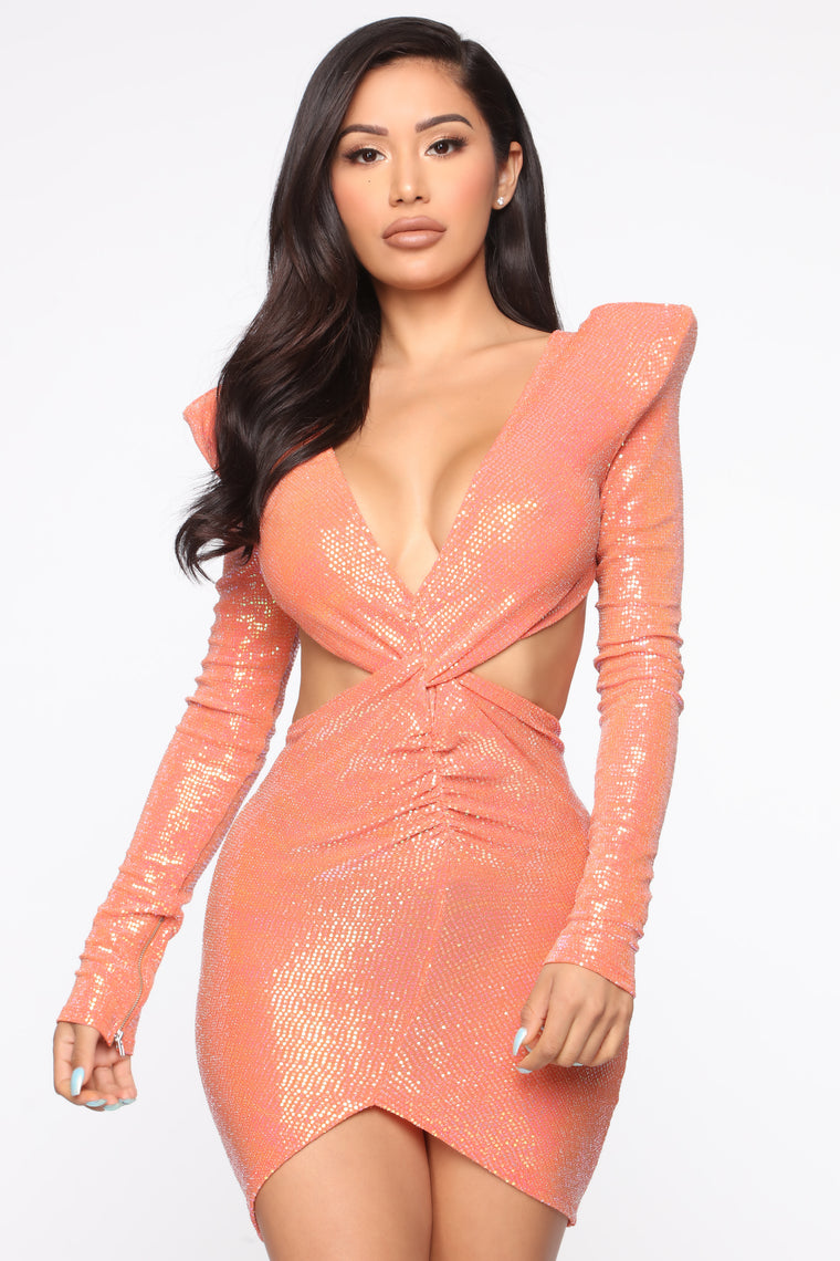 Best Angels Cut Out Mini Dress - Orange