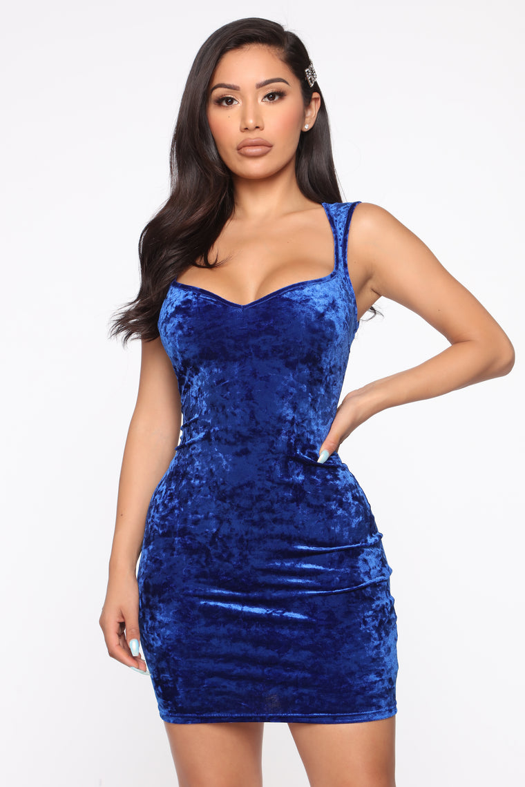 VIP Velvet Mini Dress , Royal Blue
