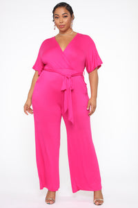Knot Even Thinking About You Jumpsuit - Fuchsia Angle 1