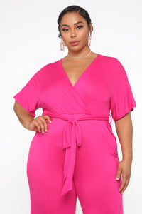 Knot Even Thinking About You Jumpsuit - Fuchsia Angle 2