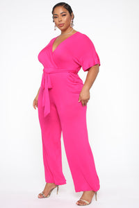 Knot Even Thinking About You Jumpsuit - Fuchsia Angle 3