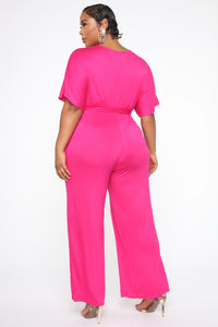 Knot Even Thinking About You Jumpsuit - Fuchsia Angle 4