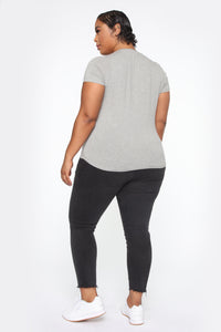 Jess V Neck Short Sleeve Top - Heather Grey