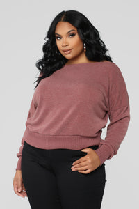 Staying In For The Night Sweater - Mauve Angle 1