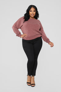 Staying In For The Night Sweater - Mauve Angle 2