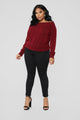 Staying In For The Night Sweater - Burgundy
