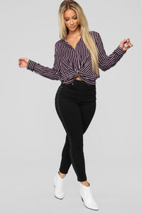 Tempting Me With Stripes Top - Plum