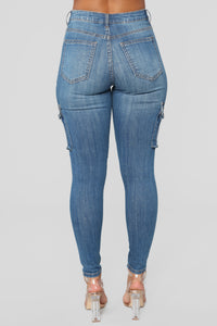 Pickin' It Up Denim Cargo's - Medium Blue Wash