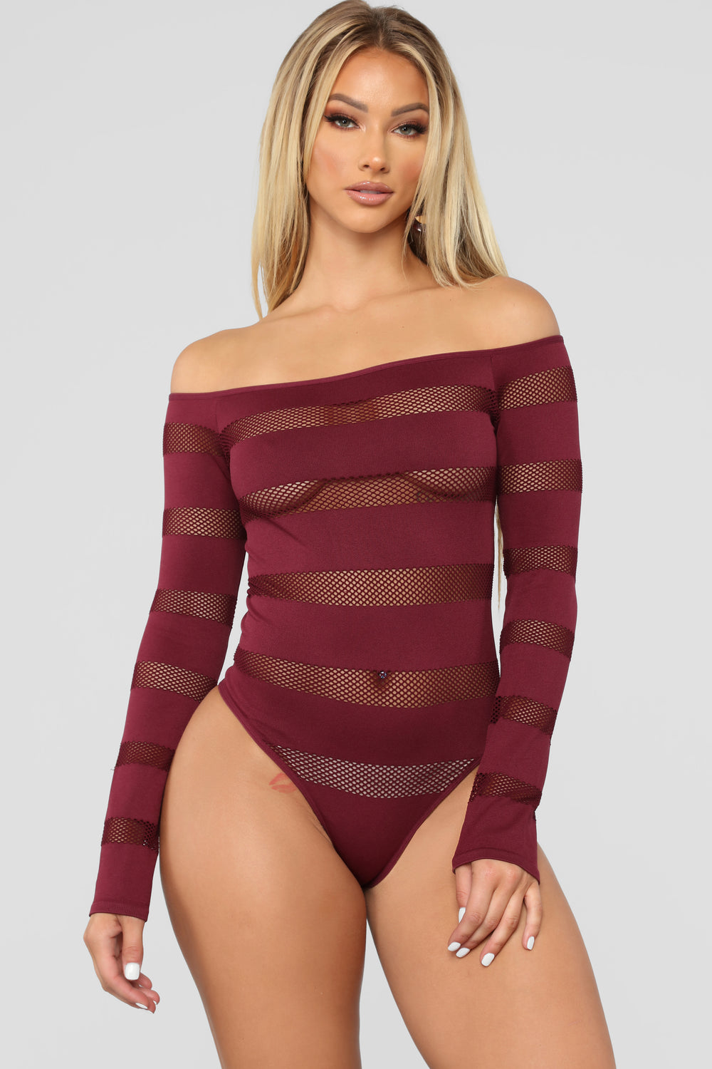 On The Fence Fishnet Bodysuit II - Wine