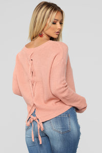 Lia Lace Up Back Sweater - Mauve
