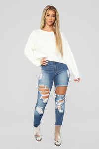 Lia Lace Up Back Sweater - Ivory Angle 3