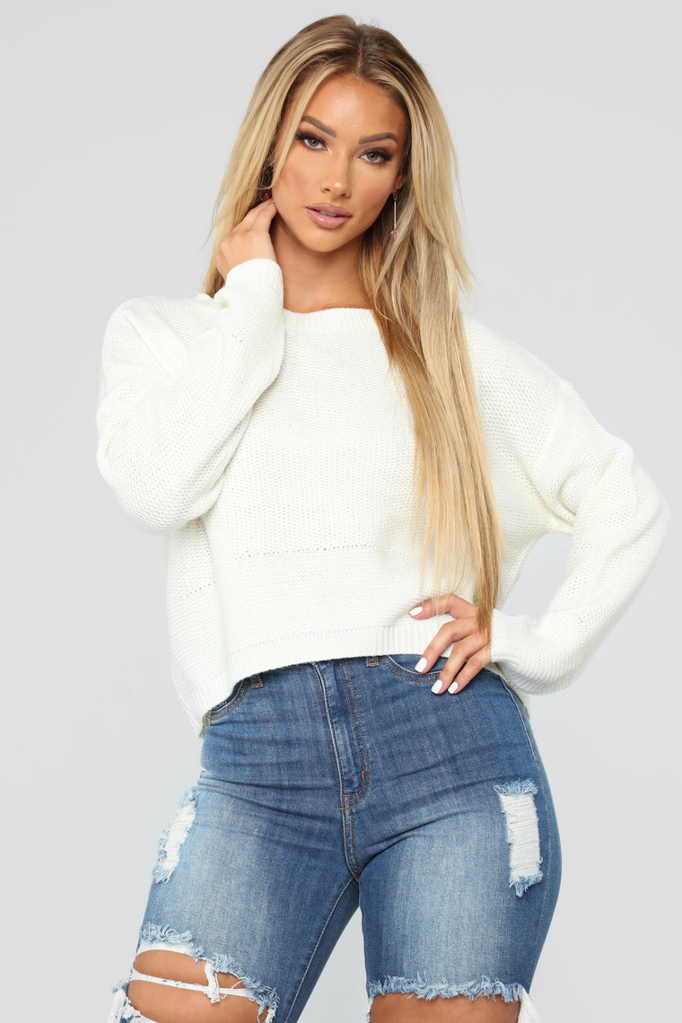 Lia Lace Up Back Sweater - Ivory