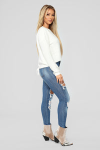 Lia Lace Up Back Sweater - Ivory Angle 5