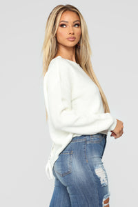 Lia Lace Up Back Sweater - Ivory Angle 4