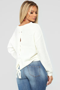 Lia Lace Up Back Sweater - Ivory Angle 1