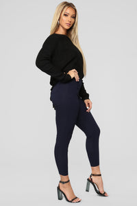 Lia Lace Up Back Sweater - Black