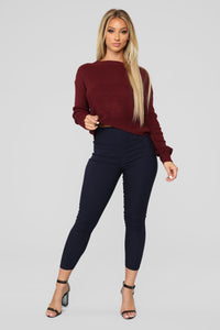 Lia Lace Up Back Sweater - Burgundy Angle 2