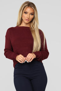 Lia Lace Up Back Sweater - Burgundy Angle 1