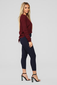 Lia Lace Up Back Sweater - Burgundy Angle 4