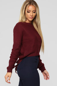 Lia Lace Up Back Sweater - Burgundy Angle 3