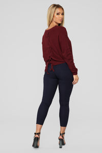 Lia Lace Up Back Sweater - Burgundy Angle 6