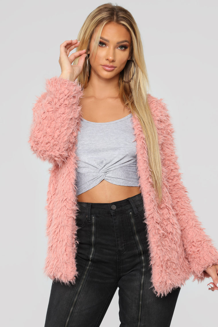 Attention Seeking Fuzzy Jacket   Mauve by Fashion Nova