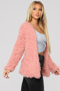 Attention Seeking Fuzzy Jacket - Mauve Angle 3