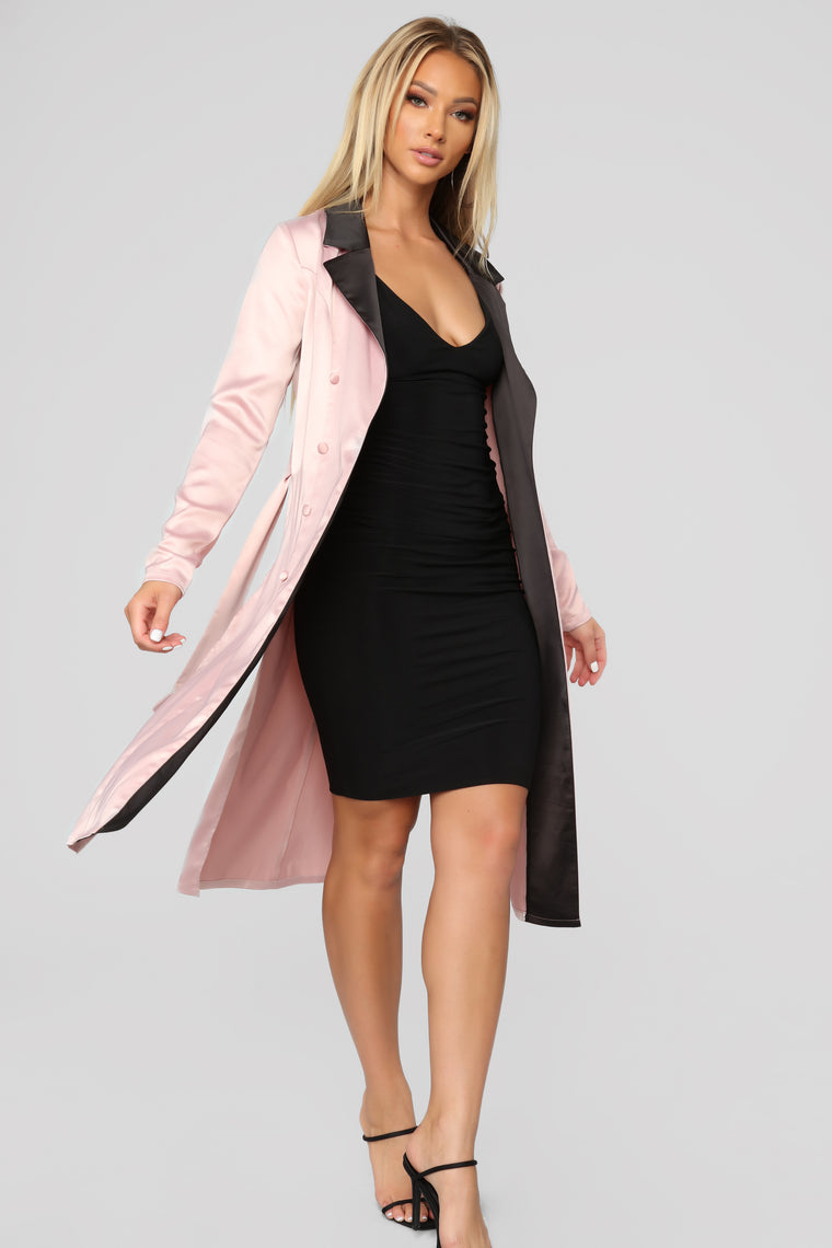 Satin Attitude Contrast Blazer   Mauve by Fashion Nova