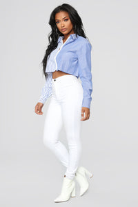 Stripe Problems Collared Shirt - White/Blue