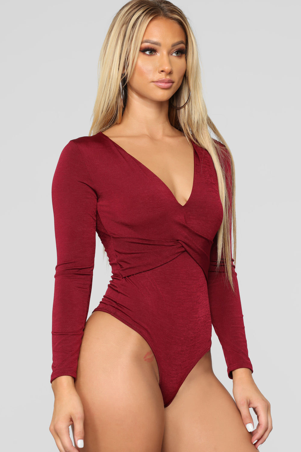 Penelope Long Sleeve Bodysuit - Burgundy