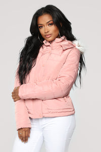 Lost In Time Puffer Jacket -Mauve