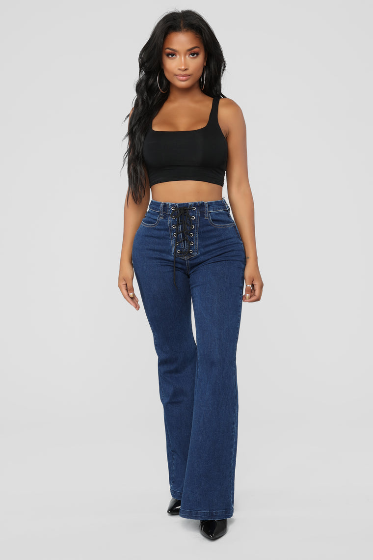 Tie Up Loose Ends Flare Jeans - Medium Blue Wash