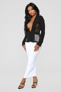 All Of A Sudden Mesh Blazer - Black