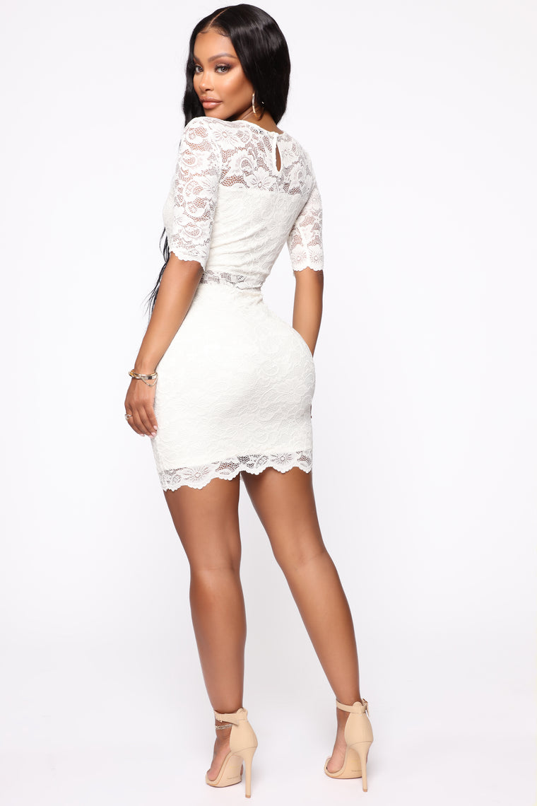 Living A Lovely Life Lace Mini Dress - Cream