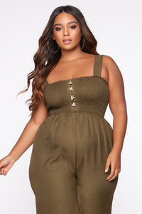 Sunday Brunch Jumpsuit - Olive Angle 2