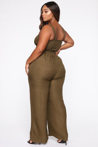 Sunday Brunch Jumpsuit - Olive Angle 4