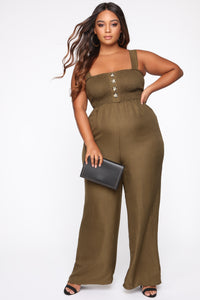 Sunday Brunch Jumpsuit - Olive Angle 1