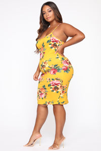 Makin' Better Moves Dress - Mustard/Combo