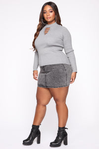 Tory Ribbed Sweater - Heather Grey
