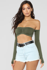 Bad At Love Crop Top - Olive