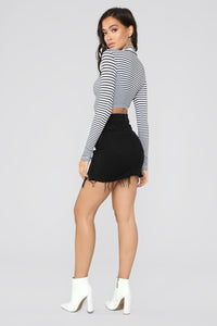 Not A Criminal Striped Top - White/Black