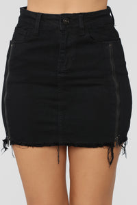 Nadia Denim Zipper Skirt - Black