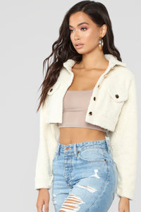 Fuzzy Love Button Crop Jacket - Ivory