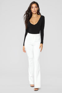 Louise V Neck Bodysuit - Black Angle 20