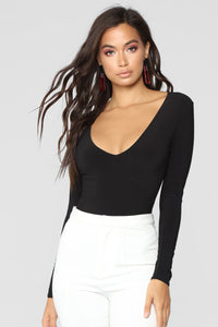 Louise V Neck Bodysuit - Black Angle 1