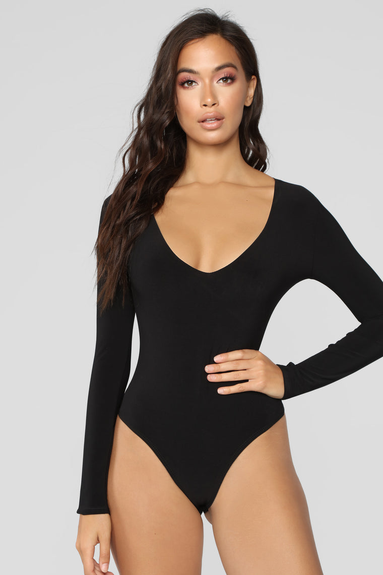 Louise V Neck Bodysuit - Black