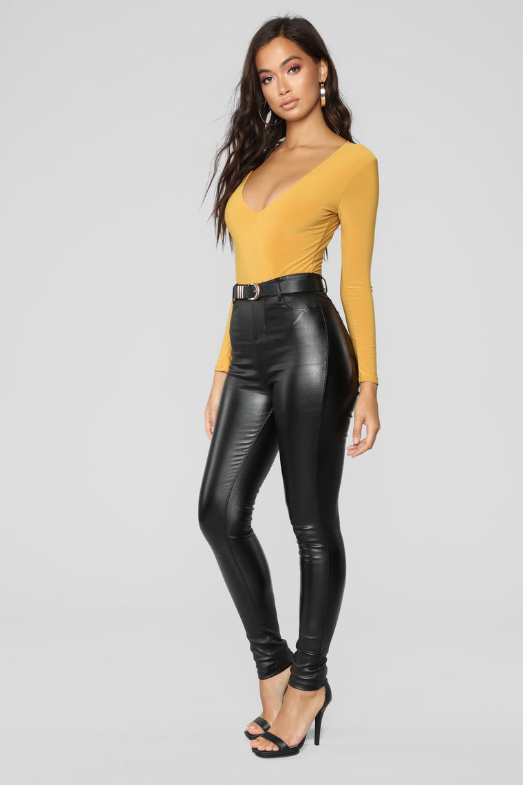 Louise V Neck Bodysuit - Mustard